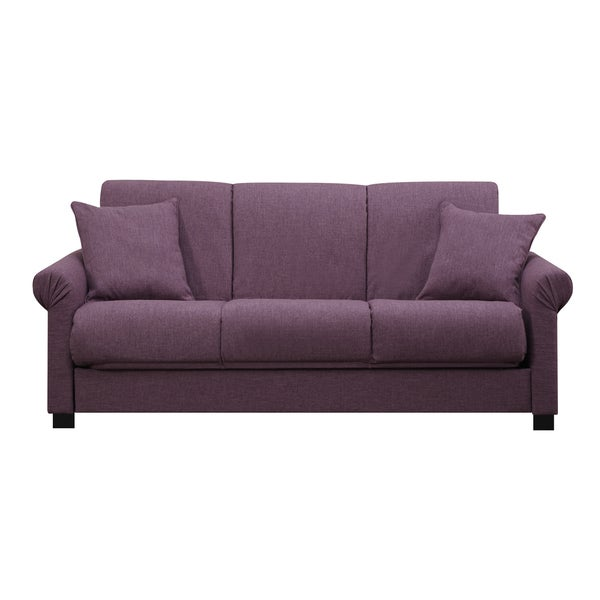 Portfolio Rio Convert A Couch Amethyst Purple Linen Futon Sofa Sleeper
