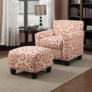 Portfolio Park Avenue Orange Spice Medallion Arm Chair and Ottoman