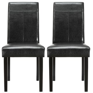 Compass Elegant Black Vinyl Dining Chair (Set of 2)