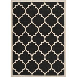 Safavieh Contemporary Indoor/Outdoor Courtyard Black/Beige Rug (9' x 12')