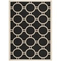 Contemporary Safavieh Indoor/Outdoor Courtyard Black/Beige Rug (4' x 5'7