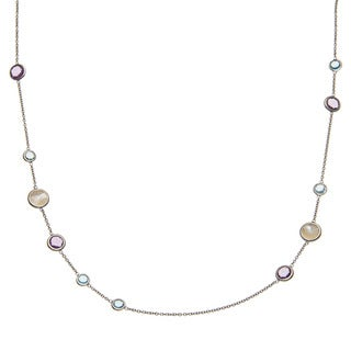 La Preciosa Sterling Silver Amethyst/ Topaz/ Mother of Pearl Necklace