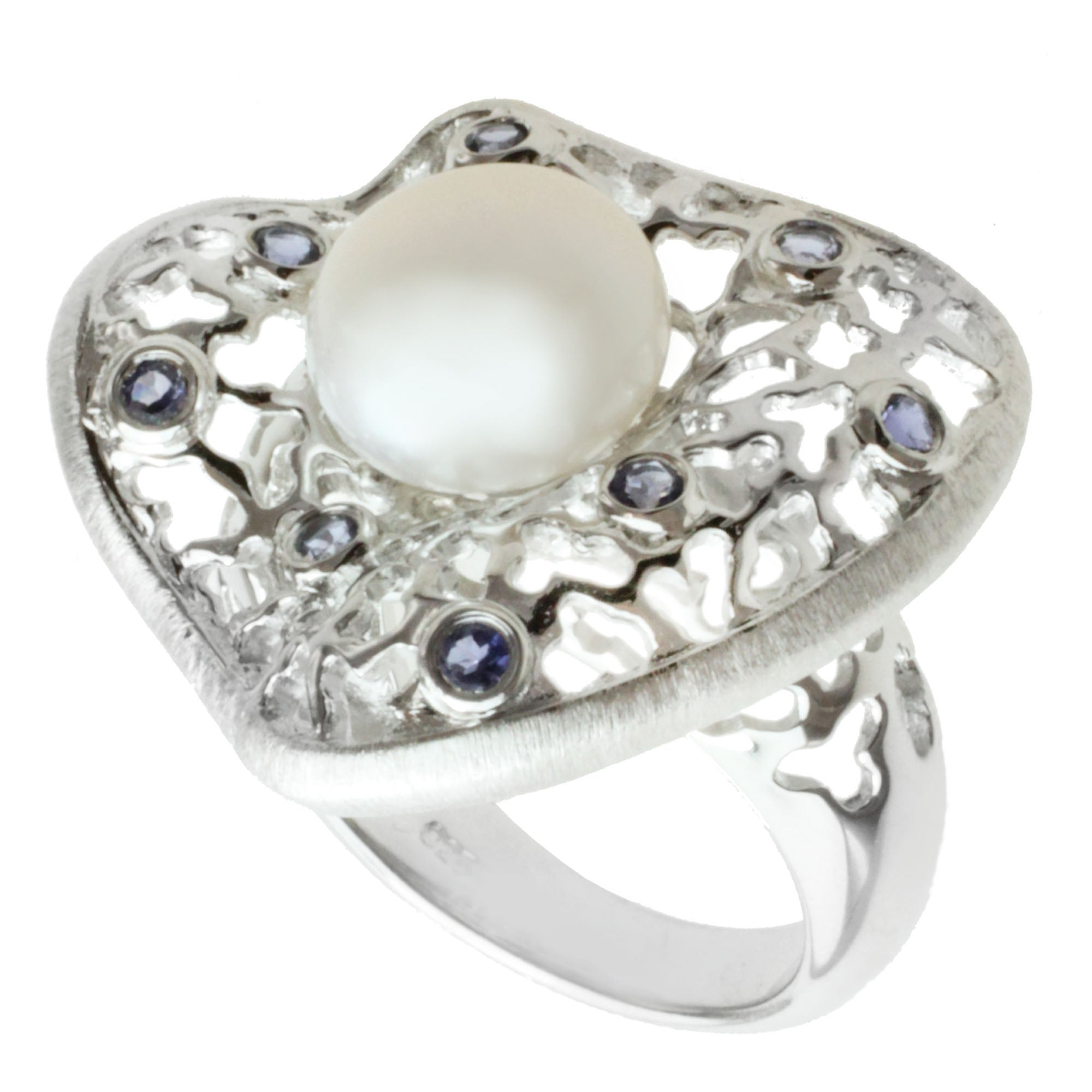 Michael Valitutti Sterling Silver Button Pearl and Iolite Ring (10 mm)