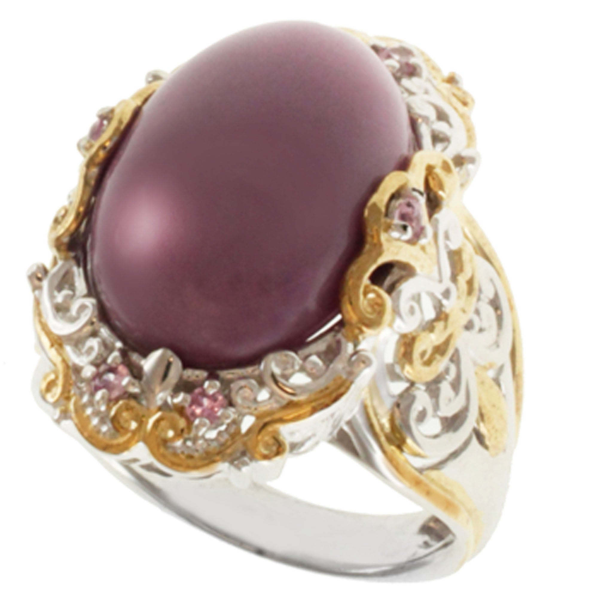 Michael Valitutti Two-tone Phosphosiderite and Pink Sapphire Ring