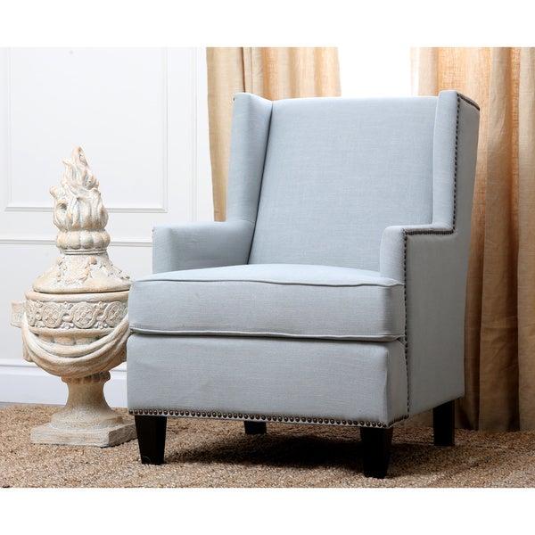 Abbyson living lorena fabric nailhead trim light blue for Light blue armchair