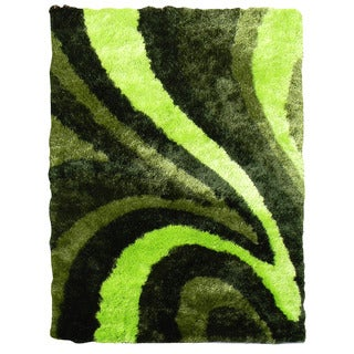 Abstract Wave Design Green Color Area Rug (5' x 7')