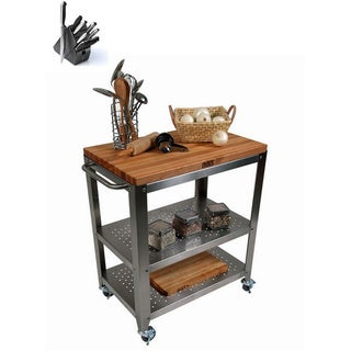 John Boos CU-CULART30 Cucina Culinarte Kitchen Cart With Henckels 13 Piece Knife Block Set