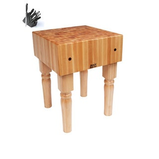 John Boos AB05 24 x 24 x 34-inch Solid Maple Butcher Block Table With Henckels 13 Piece Knife Block Set