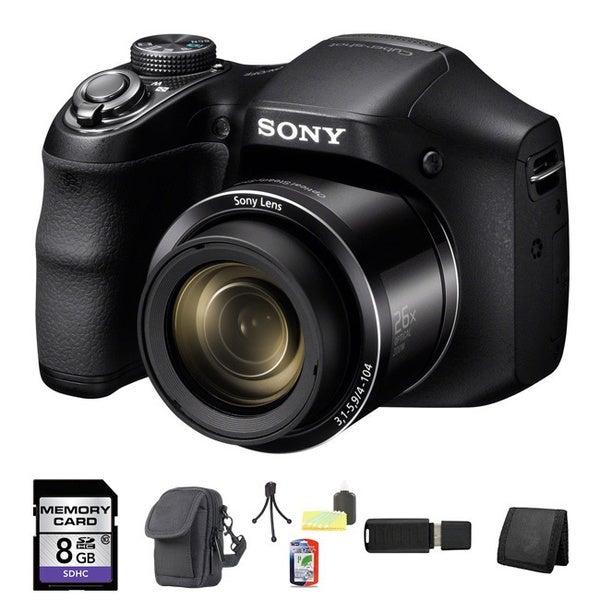 Sony Cyber-shot DSC-H200 20.1MP Black Digital Camera 8GB Bundle