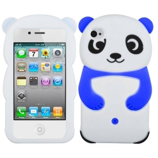 INSTEN White Panda with Blue Hands Phone Case Cover for Apple iPhone 4/ 4S