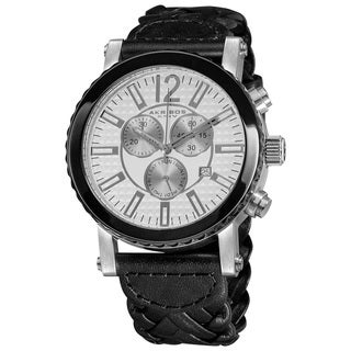 Akribos XXIV Men's Swiss Quartz Water Resistant Braided Strap Chronograph Watch