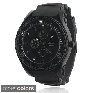 Geneva Platinum Men's Round Face Silicone Strap Watch