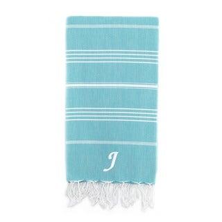 Authentic Pestemal Fouta Original Turquoise Blue and White Stripe Turkish Cotton Bath/ Beach Towel with Monogram Initial
