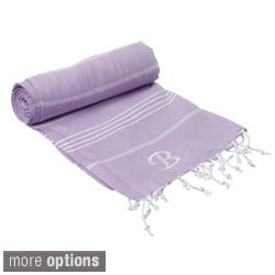 Authentic Lilac Pestemal Fouta Turkish Cotton Bath/ Beach Towel with Mongram Initial