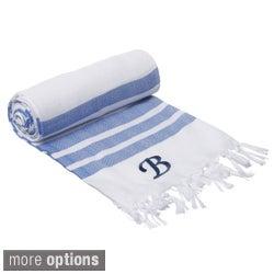 Authentic Royal Blue Bold Stripe Pestemal Fouta Turkish Cotton Bath/ Beach Towel with Monogram Initial