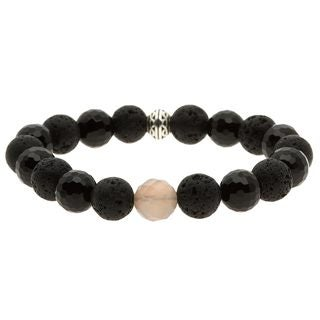 Charming Life Pewter Onyx and Lava Rock 'Sexy in Black' Bracelet