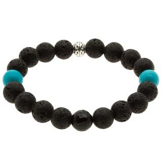 Charming Life Lava Rock, Turquoise and Onyx 'Pacific Knight' Bracelet