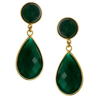 Kabella Gold over Silver Dyed Green Agate Dangle Earrings