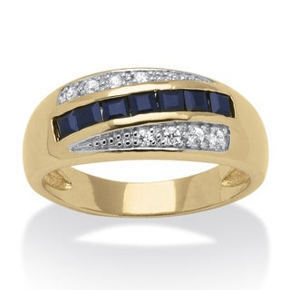PalmBeach Gold Overlay Men's Sapphire and Cubic Zirconia Ring
