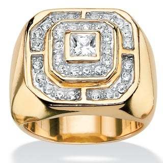 PalmBeach Men's Princess-Cut and Round Cubic Zirconia 14k Gold-Plated Octagon-Shaped Ring