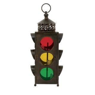 Casa Cortes Rustic Metal Traffic Light Lantern/ Candle Holder