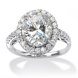 PalmBeach CZ Platinum over Silver Oval-cut Cubic Zirconia Ring Glam CZ