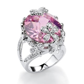 PalmBeach 21.42 TCW Oval-Cut Pink Cubic Zirconia Butterfly and Flower Ring in Silvertone Color Fun