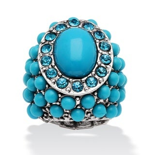 PalmBeach Simulated Turquoise Stretch Ring Naturalist