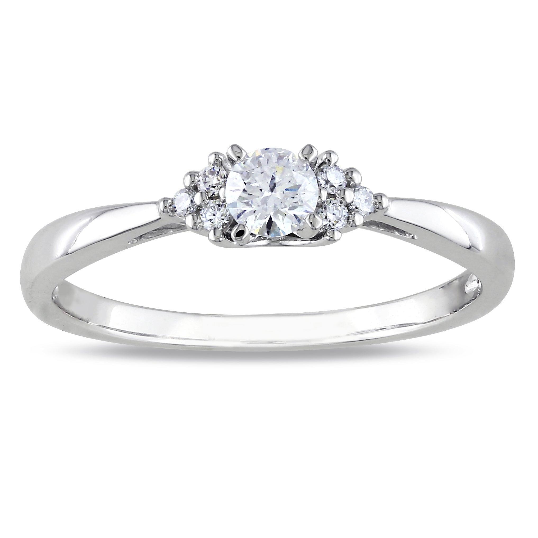 Miadora 14k White Gold 1/4ct TDW Round Diamond Ring (G-H, I1-I2)