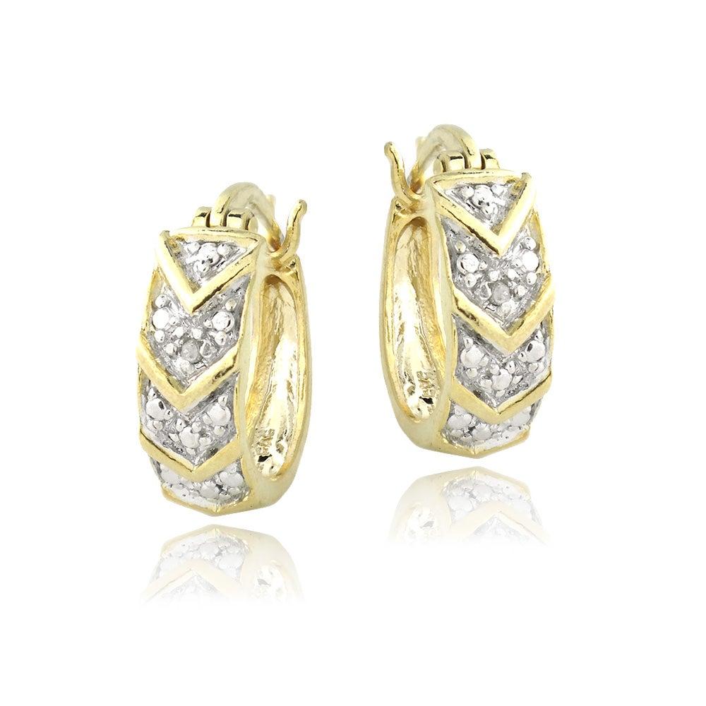 DB Designs 18k Gold over Silver Diamond Accent V Design Hoop Earrings