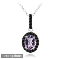 Glitzy Rocks Sterling Silver or 18k Gold Overlay Gemstone And Black Spinel Necklace