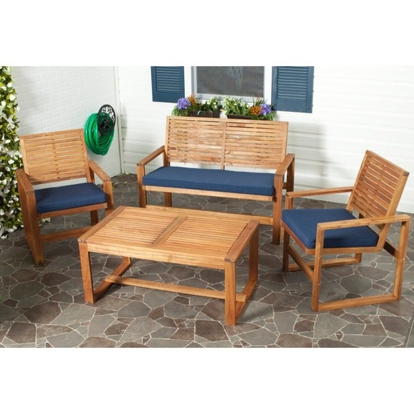 Safavieh Outdoor Living Ozark Brown/ Navy Acacia Wood 4