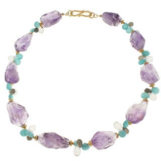 Michael Valitutti Gold over Sterling Silver Amethyst, Aquamarine, Labradorite and Rock Crystal Necklace