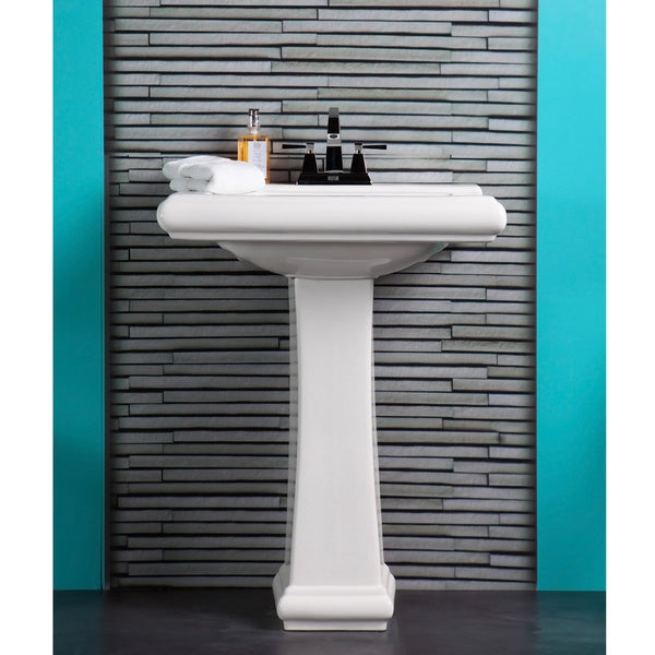 Somette ashfield ceramic white pedestal bathroom sink for Bath sink and toilet packages