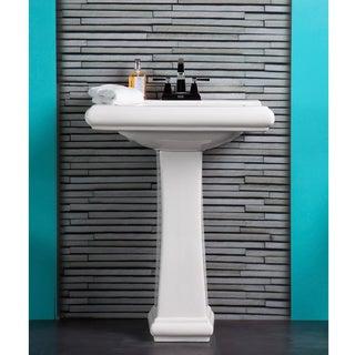 Somette Ashfield Ceramic White Pedestal Bathroom Sink