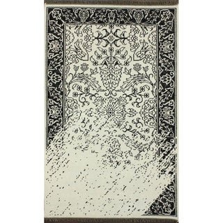 nuLOOM Hand-knotted Vintage-inspired Overdyed Black/ White Wool Rug (5' x 8')