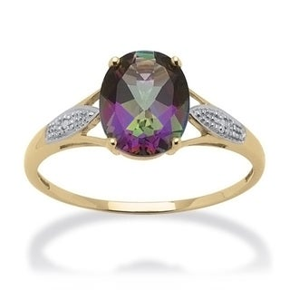 PalmBeach 3.50 TCW Genuine Oval-Cut Fire Topaz and Diamond Accented Ring in 10k Gold