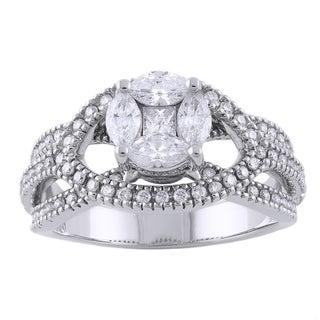 Beverly Hills Charm 14k Gold 7/8ct TDW Diamond Engagement Ring (H-I, I1)