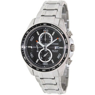 Citizen Men's 'Eco-Drive CA0340-55E' Silvertone Titanium Black Dial Watch