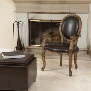 Christopher Knight Home Jacob Brown Bonded Leather Weathered Oak Arm Chair