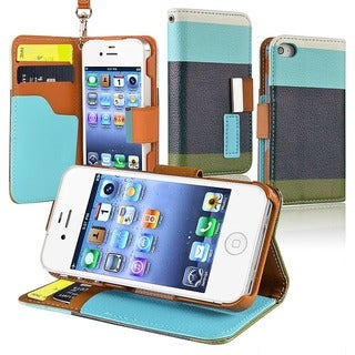 INSTEN Blue/ Black/ Green Leather Wallet Phone Case Cover for Apple iPhone 4/ 4S