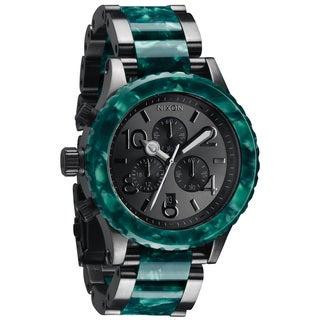 Nixon Men's '42-20 Chrono' Gunmetal/ Emerald Acetate Watch