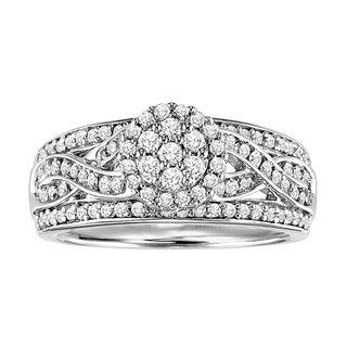 Cambridge Sterling Silver 3/4ct TDW Diamond Vintage Braided Ring