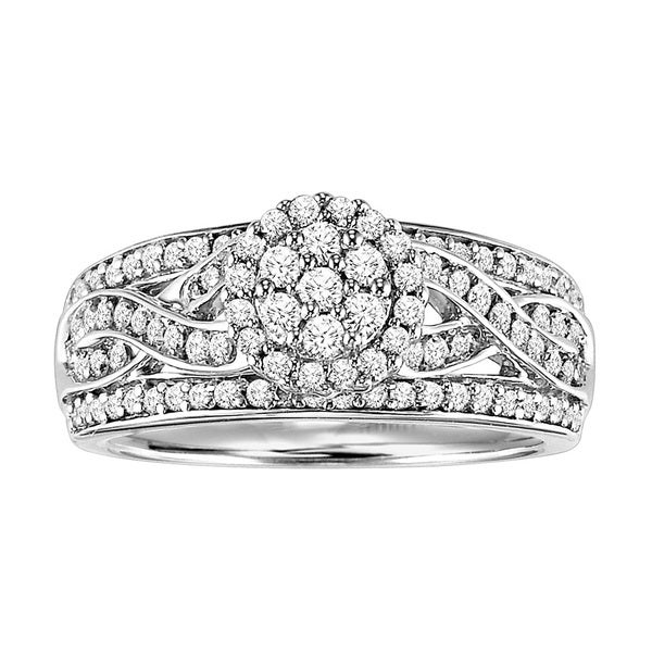 Cambridge Sterling Silver 3/4ct TDW Diamond Vintage Braided Ring