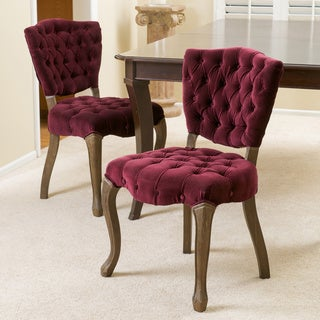 Christopher Knight Home Bates Tufted Dark Purple Fabric Dining Chairs (Set of 2)