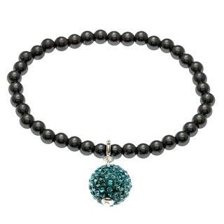 7-inch Stretch Hematite and Crystal Charm Bracelet