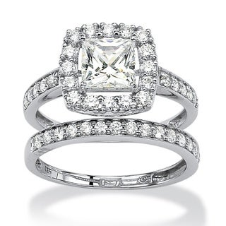 PalmBeach CZ Platinum over Silver Cubic Zirconia Ring Set Glam CZ