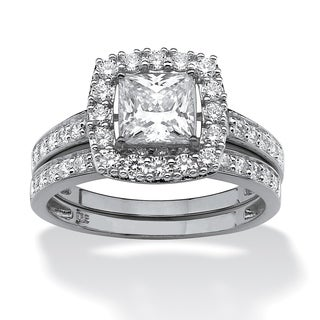 PalmBeach 1.93 TCW Princess-Cut Cubic Zirconia Two-Piece Bridal Set in Platinum over Sterling Silver Glam CZ