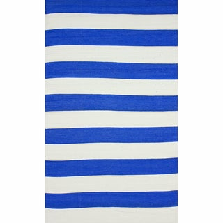 nuLOOM Flatweave Indoor/ Outdoor Reversible Thick Striped Blue Rug (8' x 10')