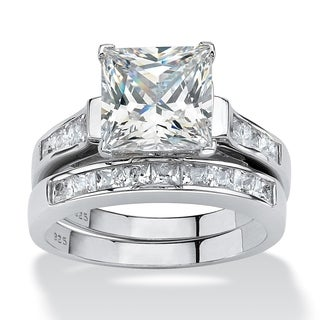 PalmBeach CZ Platinum over Silver Princess Cubic Zirconia Ring Set Glam CZ